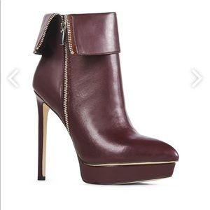 Burgundy heel booties